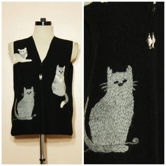 Cat Vest Sweatervest Medium Large XL Cat Lady Animal Sweater Vest Wool