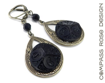 Antique Button Earrings, Victorian Mourning Button Teardrop Earrings Black Mourning with Vintage Buttons