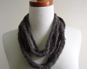 CLEARANCE Cowl Rope Necklace Alpaca Boho Brown Natural Rustic Hand Knit  - Size Small