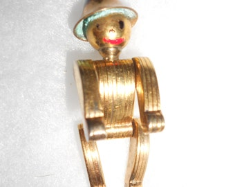 """Tin Man Posable Articulated Industrial Art Deco Golden """"Robot"""" Brooch Unusual Hand Crafted OOAK Gold Plated Man"""