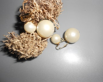 Pearl  Earrings Double Ball Drop Wedding Day Classics Vintage Mid Century Audrey Hepburn Style Clip Back Earrings