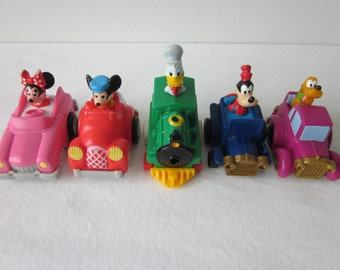 Vintage Mickey Mouse Pull and Go Cars - McDonald's Set