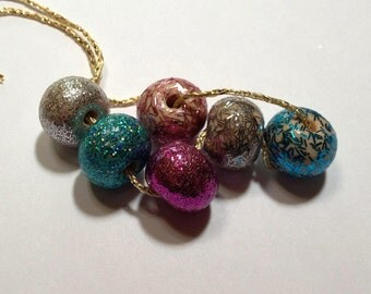 Victorian Christmas - Polymer Clay Glitter Beads