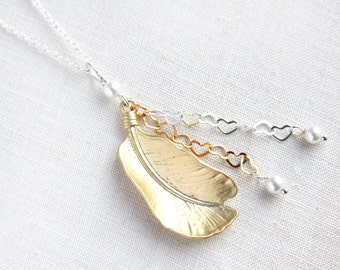Matte Gold Feather on Sterling Chain with Silver and Gold Miniature Heart Dangle, Wire Wrapped White Pearls, Bridal Necklace