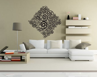 Vinyl Wall Decal Sticker Swirl Diamond 1042B