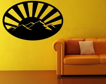 Vinyl Wall Decal Sticker Mountains with Sunset OSMB915m