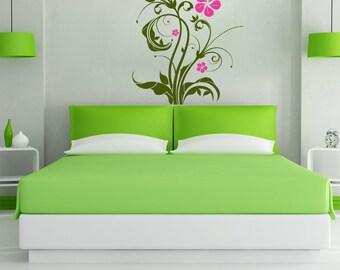 Vinyl Wall Decal Sticker Flower Swirl Plant 1081s