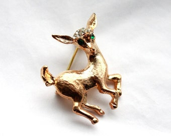Vintage 1960s Rhinestone Deer Brooch in Gold OR White Gold Color // Green Eyes // Bambi