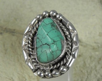 Vintage (Dead Pawn) Natural Turquoise Native American Sterling Ring signed BS