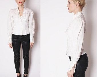 Gunne Sax Vintage 1970s Cotton Lace White Blouse / Gunne Sax / Top / Tops / Blouses / Shirt / 1720