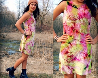 Amazing Vintage 90s Crushed Velvet Pastel Tie Dye Mini Dress