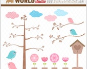 Chic Bird Modern Flower Clipart - INSTANT DOWNLOAD - Digital Clip Art - WA005C5a
