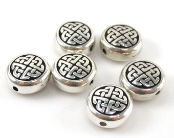 20 Silver Tierracast Round Celtic Beads