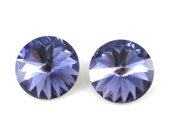 2 Swarovski Crystal 12mm Tanzanite Rivolis