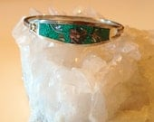 Crushed turquoise inlay sterling silver Mexico bracelet cuff