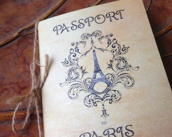 Passport to Paris Invitation - Passport Invitation - Vintage Inspired Invitation