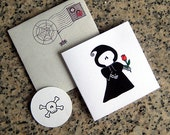 grim reaper true love never dies custom personalized mini cards, envelopes and seals with custom printed insides - set of 6