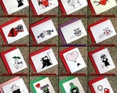SINGLE CARD choose your own cute goth valentine alternative dark love note and colored envelope
