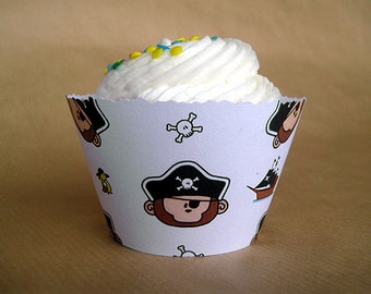 monkey pirate birthday party cupcake wrappers with pirate ship, treasure chest, parrot and skulls - set of 12