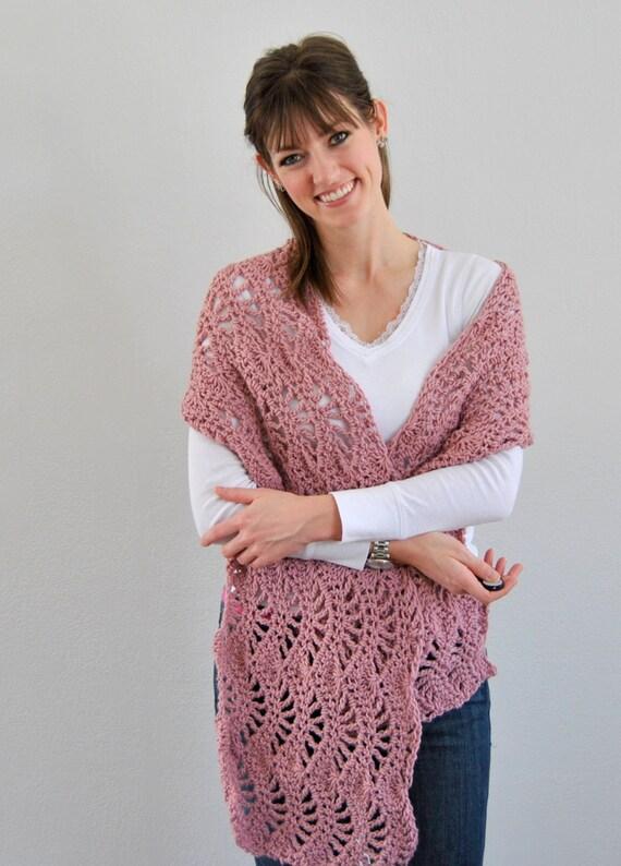 Dusty Pink Womens Autumn Lacy Ripple Crochet Shawl Wrap