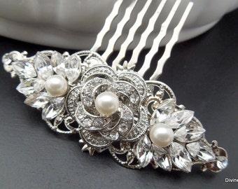 Pearl Hair Comb,Bridal Pearl Rhinestone Hair Comb,Wedding Rhinestone Hair Comb,Rose Rhinestone Hair Comb,Ivory Pearls,Pearl,Rose,ROSELANI