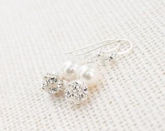 Bridal earrings, rhinestone and pearl, classic drops, simple wedding jewelry, Swarovski