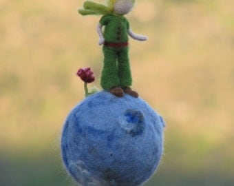 Waldorf inspired needle felted Little prince mobile