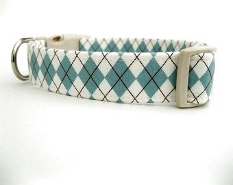 Argyle Dog Collar Blue and Ivory McAllister Argyle