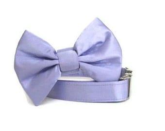 Satin Wedding Bow Tie Dog Collar - Lilac