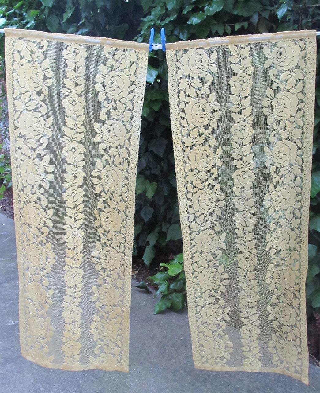 Yellow kitchen curtains yellow rose panels pair by hatchedinfrance