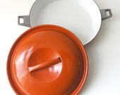 Vintage Orange Enamel Casserole