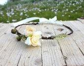 BOHEMIAN RHAPSODY HeadBand - Wreath woodland flower hair wreath - wedding headpiece, headband, vintage inspired flower rose crown