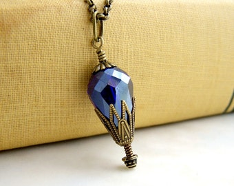 Cobalt Hot Air Balloon Necklace of cut glass crystal - Steampunk Jewelry - Antique Brass and Crystal Cobalt Blue Necklace