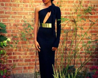 One Shoulder Metal Belt Full Length Gown