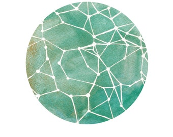 Geometric Art Print // Nursery Art // Fine Art Print // Teal Constellations