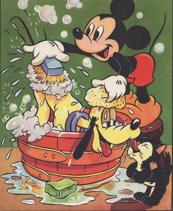 Items Similar To Mickey Mouse And Pluto Bath Time 1940s Walt Disney Print Nursery Decor Boy On Etsy
