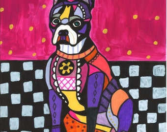 60% Off- Boston Terrier art Art Print Poster by Heather Galler