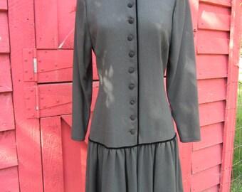 Ungaro Dress 1980s/ Button Down Dress/ Drop Waist Dress/ Secretary Dress