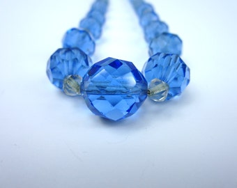 Glass Beads. Vintage Blue Glass Beads Facated Clear and Blue Necklace