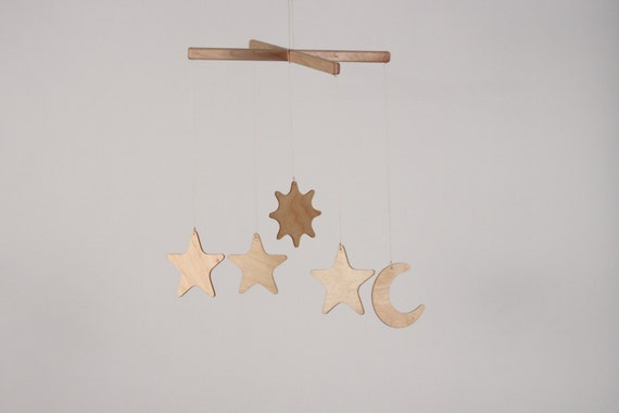 sun moon and stars wooden mobile for baby 39 s nursery. Black Bedroom Furniture Sets. Home Design Ideas