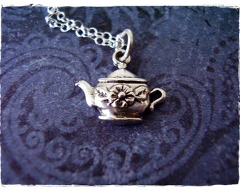 Tiny Flower Teapot Necklace - Sterling Silver Flower Teapot Charm on a Delicate Sterling Silver Cable Chain or Charm Only