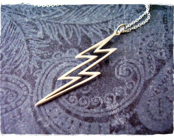 Large Silver Lightning Bolt Outline Necklace - Sterling Silver Lightning Bolt Charm on a Delicate Sterling Silver Cable Chain or Charm Only