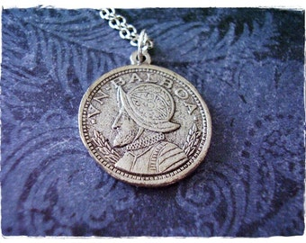Silver VN Balboa Coin Necklace - Antique Pewter VN Balboa Coin Charm on a Delicate Silver Plated Cable Chain or Charm Only