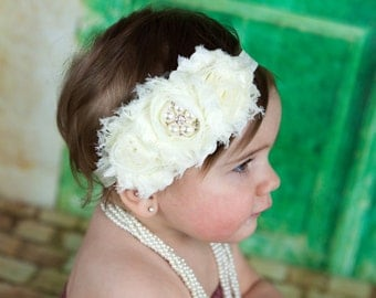 Flower Girl Headband. Ivory Flower Girl Headband. Ivory Flower Headband. Flower Girl Hair Accessories. Ivory Baby Headband. Baptism Headband