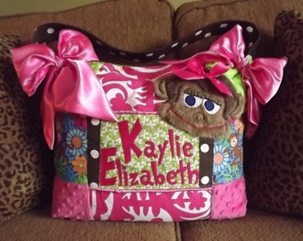 3D Brown fur Monkey Applique Diaper Bag Custom Made Lime Green Hot Pink Minky Damask Blue Polka Dot