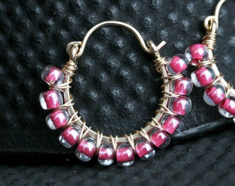 Pink hoop earrings, magenta Czech glass beaded earrings, pink, fushia, wire wrapped hoops, beaded, 14k gold filled, Mimi Michele Jewelry