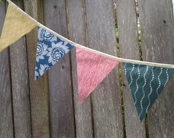 Bunting Flags Home Decoration Modern faded primary colors mustard, Monoco Blue, Jade and Red