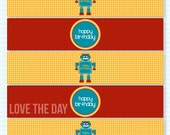 Robot Party PRINTABLE Drink Labels (INSTANT DOWNLOAD) by Love The Day