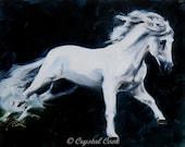 Horse Oil Painting Beautiful White Stallion Andalusian Spanish Baroque Shadowfax wall art 8 x 10