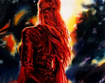 Watercolor figure painting beautiful red haired woman in a forest at sunset glowing colors emotive wall art
